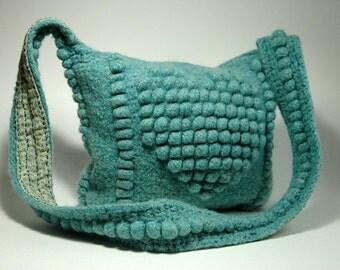Crocheted felted wool handbag, Lined, Zipper