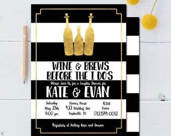 Couples Shower Invitation - Wine and Brews Before the I Do's - Couples Shower Invitation Printable