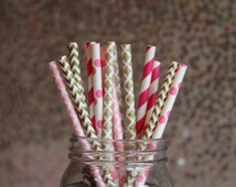 Paper Straws/Drinking Straws/Pink and Gold Paper Straws/Pink Straws/Damask Gold Straws/Gold Straws/Hot Pink Paper Straws