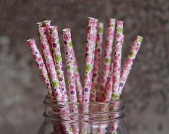 Paper Straws/Drinking Straws/Floral Straws/Purple Flower Straws/Paper Straws/Themed Paper Straws/Green Floral Straws/Party Paper Straws