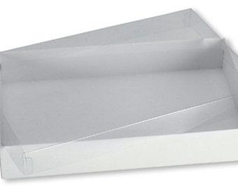 10x7x2 white gift box w/ clear lid