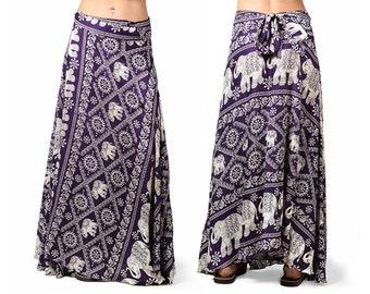 Elephant Print Long Wrap Skirt - Purple - 3304U