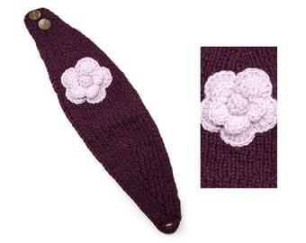 Hand Knit Wool Headband, Womens Winter Earwarmer - Plum & Berry - 1735U