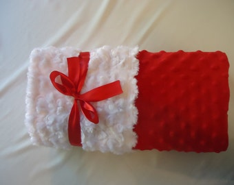 Soft and Cuddly Red Minky Baby Blanket