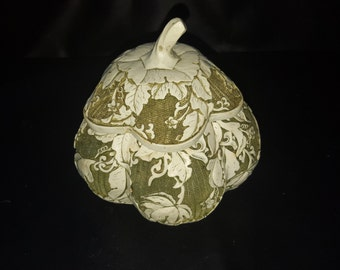 Unique Gourd Box/Dish with Lid, Vines textured into the Dish 1950's