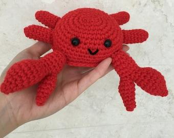Crochet Crabbi Crab Amigurumi, PATTERN, toy, stuffed toy, plush, baby, toddler, seafood