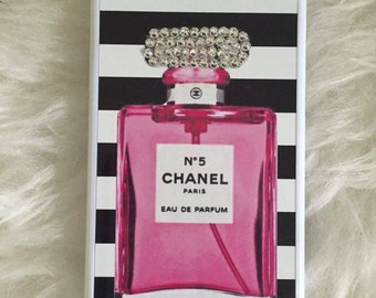 Pink Chanel Bottle With Black & White Striped Phone Case With Swarovki Crystallised
