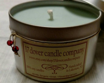Large Tin 100% soy candle in Sunwashed Linen