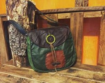 Leather Messenger Bag, Orange and Green with Dreamcatcher