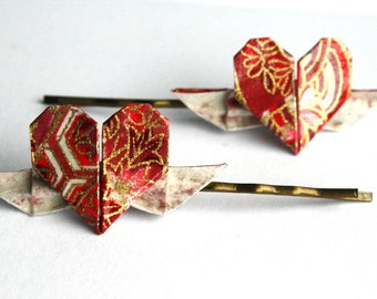Winged Heart Origami Clips in Red, Pink and Gold