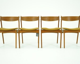 306-204 Danish Mid Century Modern 4 Teak Dining Side Chairs by Erik Buch