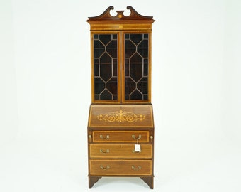 C2638 Antique Scottish Edwardian Inlaid Mahogany Bureau Bookcase Desk