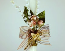 """18"""" Easter Greek Candle Lambada Decorated with Flowers, Burlap Natural Ribbons and a Metal Hair Pin with a Golden Bee"""