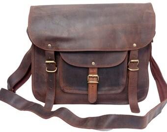 Rustic Leather Satchel Crossbody Bag School Bag College Bag Messenger Satchel