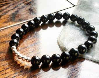 8mm Genuine Onyx Bead Bracelet, Sterling Silver