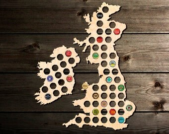 United Kingdom Beer Cap Map UK. Beer Cap Holder Beer Cap Display. Great Britain, England, Gift for Him. Father's Day Gift Chrismas Gift