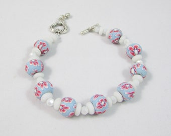 Painted Flower Bead and White Bead Bracelet with Heart Toggle Closure
