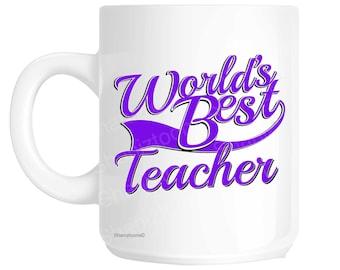 Teacher World's Best Purple Novelty Gift Mug shan803