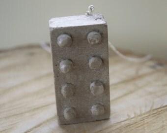 Concrete Brick Pendant with Sterling Silver