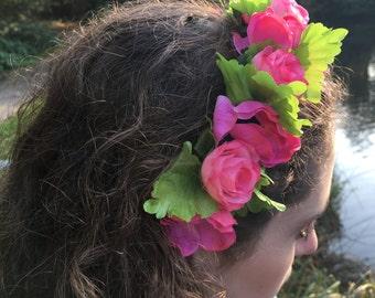 Pink Flower Headband, Rosebud And Poppy, Flower Headband, Music Festival Crown, Coachella, Flower Girl Crown, Bridesmaids Headband,