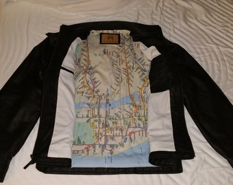 Leather Jacket with Map Inside of NYC Subway