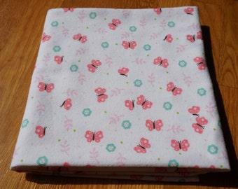 Flannel Receiving Blanket, Butterfly Blanket, Pink Butterflies, Flowers, Swaddle Blanket, Large Blanket, Flannel Blanket, Baby Blanket