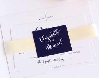 Christian Wedding Invitation, Navy Blue, Printable or Printed - Your Choice, Elegant, Ribbon Belly Band, New by Paradise Invitations
