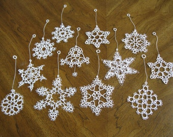 12 Handmade White Tatted Christmas Ornaments