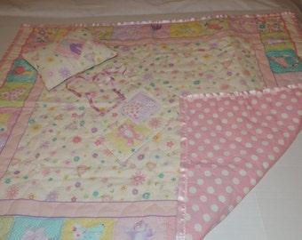 Three Piece Set, Comforter, Pillow and Bib