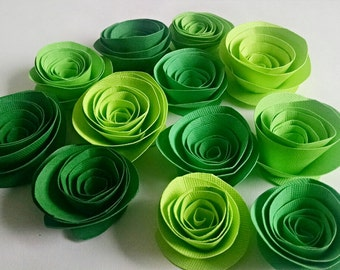 Paper Flowers - Green Paper Roses - Set of 12