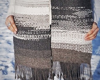 Yana River handwoven extra long 100% wool scarf: ash, charcoal, umber