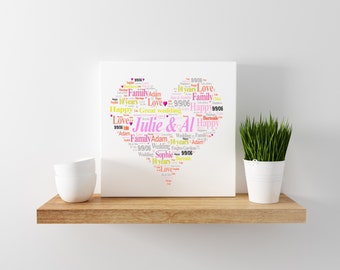 10 years wedding anniversary print  - canvas 20cm x 20cm