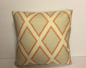 "Custom Kravet print throw pillow cover 18"" x 18""."