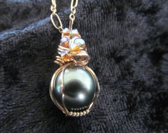 AAA Black Tahitian Pearl Neckace Wire Wrapped 14kt Gold Filled wire
