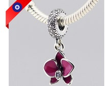Orchid Charm Pandora Suitable  - 925 Sterling Silver Dangle Flower Charm for Pandora Bracelet - Purple Orchid Charm Pandora Suitable