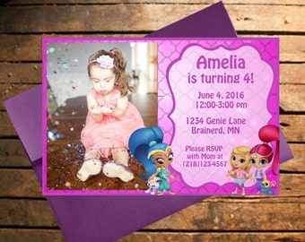 Downloadable Shimmer & Shine Themed Birthday Invitation with photo