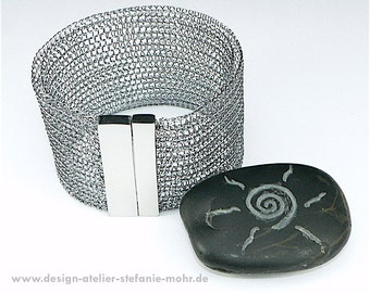 hand made wire crochet CUFF BRACELET -  smokey grey or ice blue with stainless steel magnetic clasp