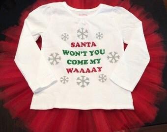 Santa Won't You Come My Way Christmas tutu set