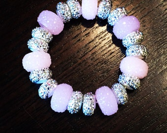 Sparkle Bead Bracelet (pale pink and silver)