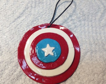 Polymer clay Captain America inspired ornament/gift tag