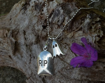 tombstone and ghost charm necklace