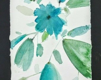 Watercolor turquoise on paper craft