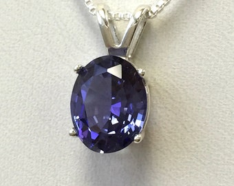 925 Sterling Silver pendant created Tanzanite 3 ct. Chain Necklace Jewelry. @