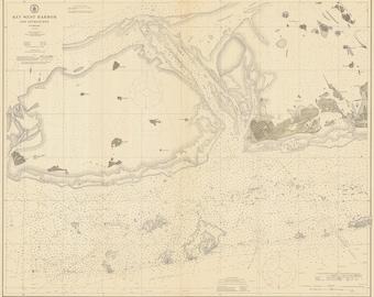 1911 Nautical Map of Key West Harbor Florida