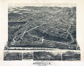 1891 Panoramic Map of Asheville North Carolina