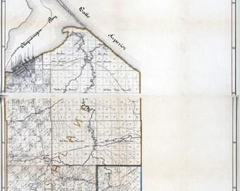 1898 Map of Ashland County Wisconsin Glidden
