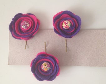 Three hairpins with felt roses