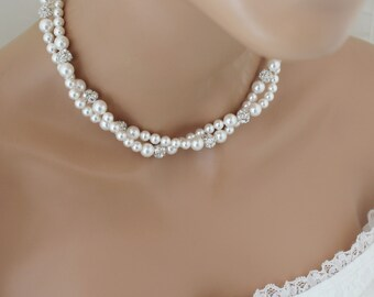 Double Strand Wedding Jewelry, Pearl Bridal Necklace, Swarovski Pearl Wedding Necklace, Pearl Bridal Jewelry, Twisted Pearl Necklace