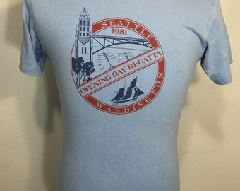 80's vintage hanes seattle tourist t shirt 100% cotton size medium