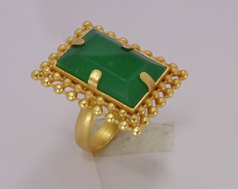Handmade Ring - Green Onyx Ring - Gold Vermeil Ring - Brass Ring - Party Wear Ring - Fashion Ring - Adjustable Ring - Womens Statement Ring